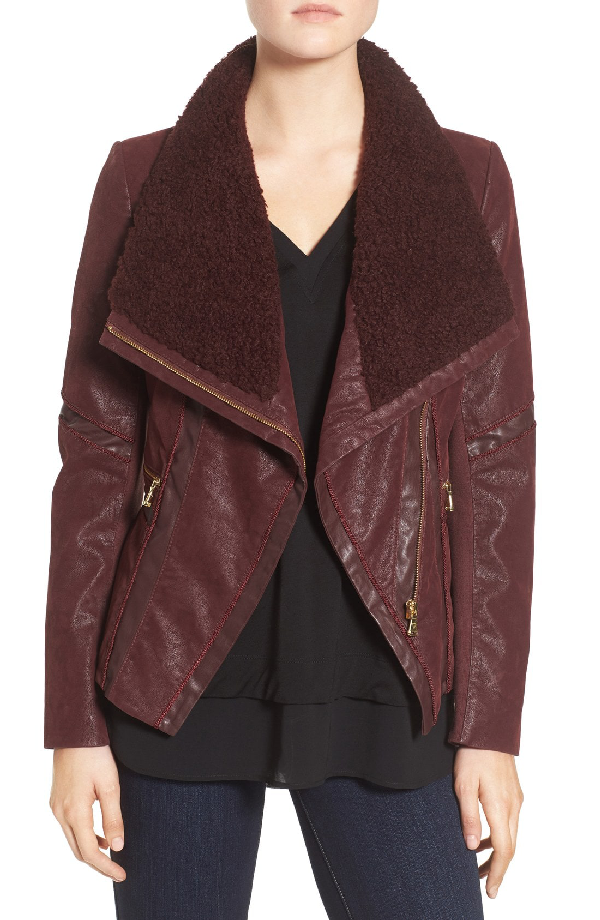 Guess Faux Leather Moto Jacket With Faux Fur Trim In Wine