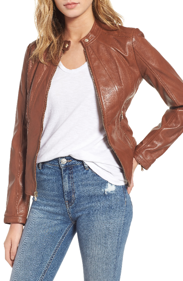 Guess Collarless Leather Moto Jacket In Cognac