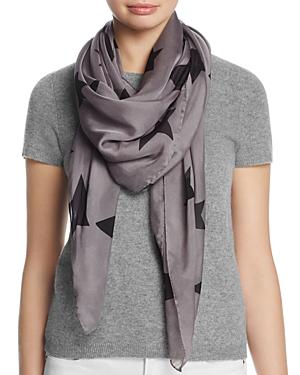 Helene Berman Large Stars Silk Scarf In Gray/black
