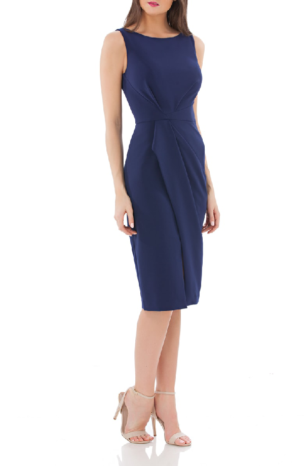 Js Collections Pleated Crepe Cocktail Dress In Navy