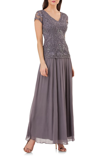 Js Collections Soutache Applique Gown In Slate