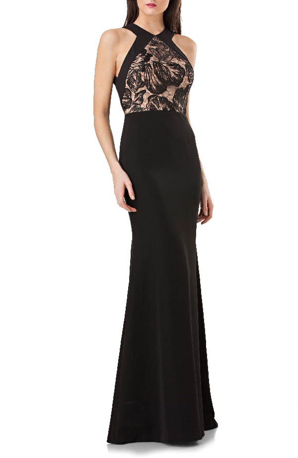 Js Collections Js Collection Lace Front Halter Mermaid Gown In Black/ Nude