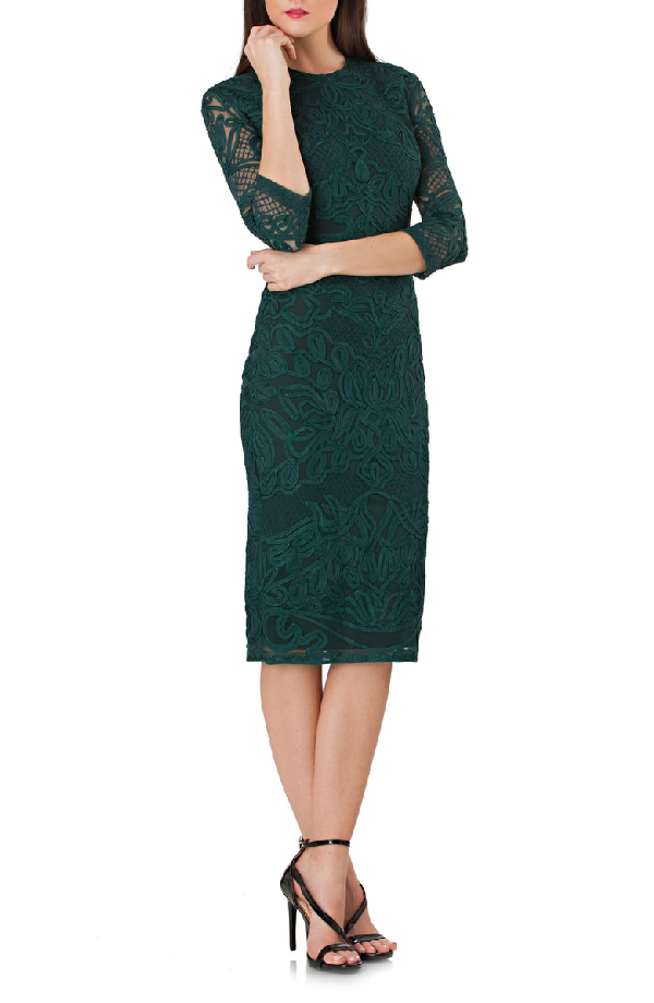 Js Collections Soutache Sheath Dress In Forest