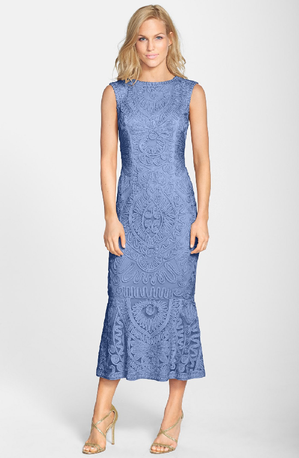 Js Collections Soutache Mesh Dress In Periwinkle