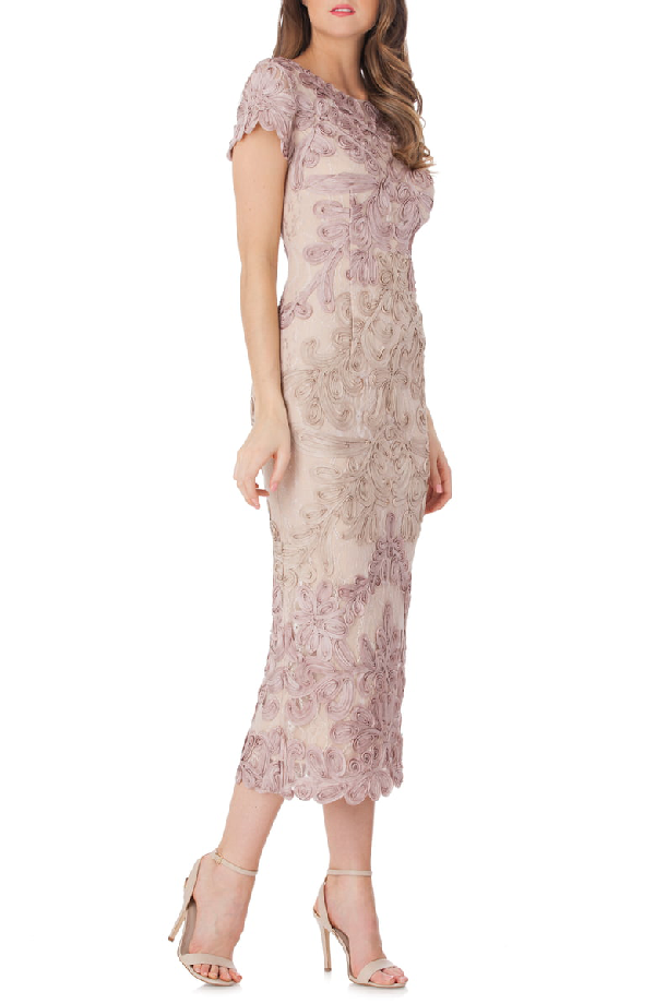 Js Collections Soutache Lace Midi Dress In Pink/ Sand