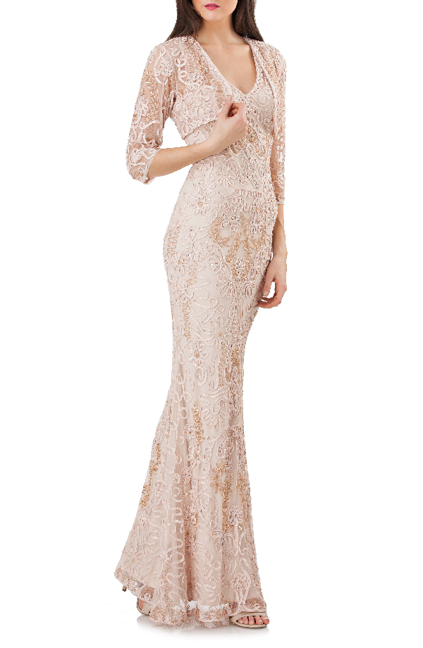 Js Collections Soutache Mermaid Gown With Bolero In Nude