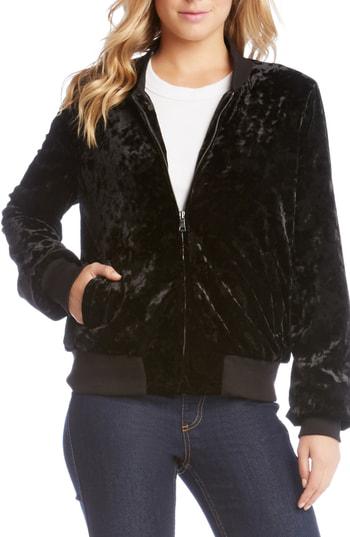 Karen Kane Velvet Bomber Jacket In Black
