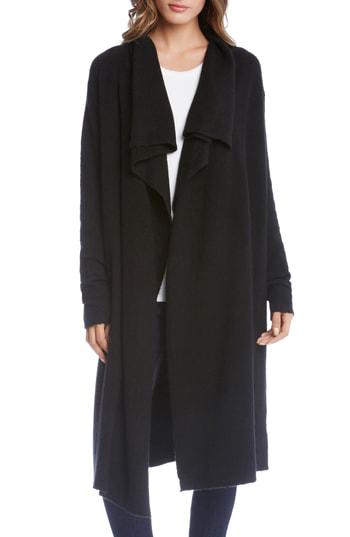 Karen Kane Drape Front Duster Jacket In Black
