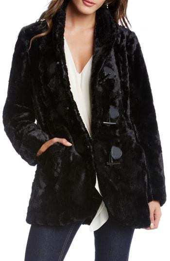 Karen Kane Faux Fur Toggle Jacket In Black