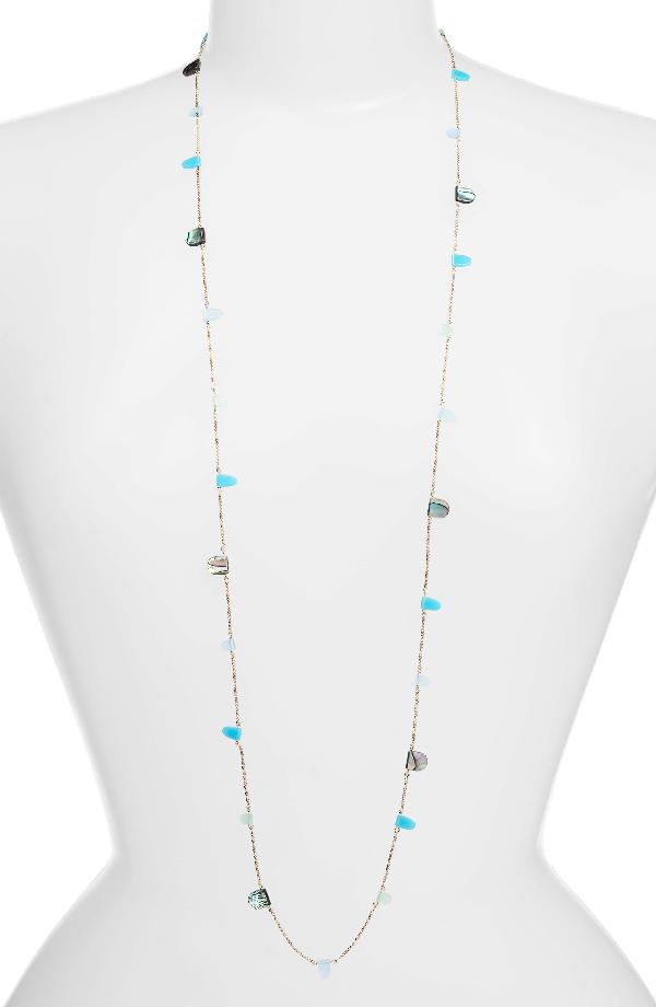 Kendra Scott Leola Long Station Necklace In Blue Mix Shell/ Gold