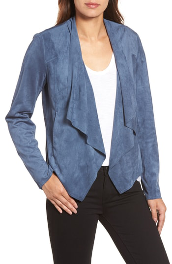 Kut From The Kloth Tayanita Faux Suede Jacket In Slate Blue