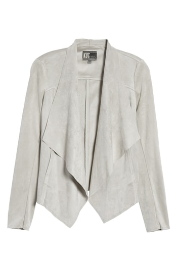 Kut From The Kloth Tayanita Faux Suede Jacket In Light Grey
