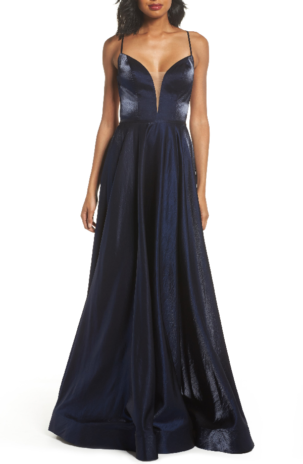 La Femme Plunging Satin A-line Gown In Navy
