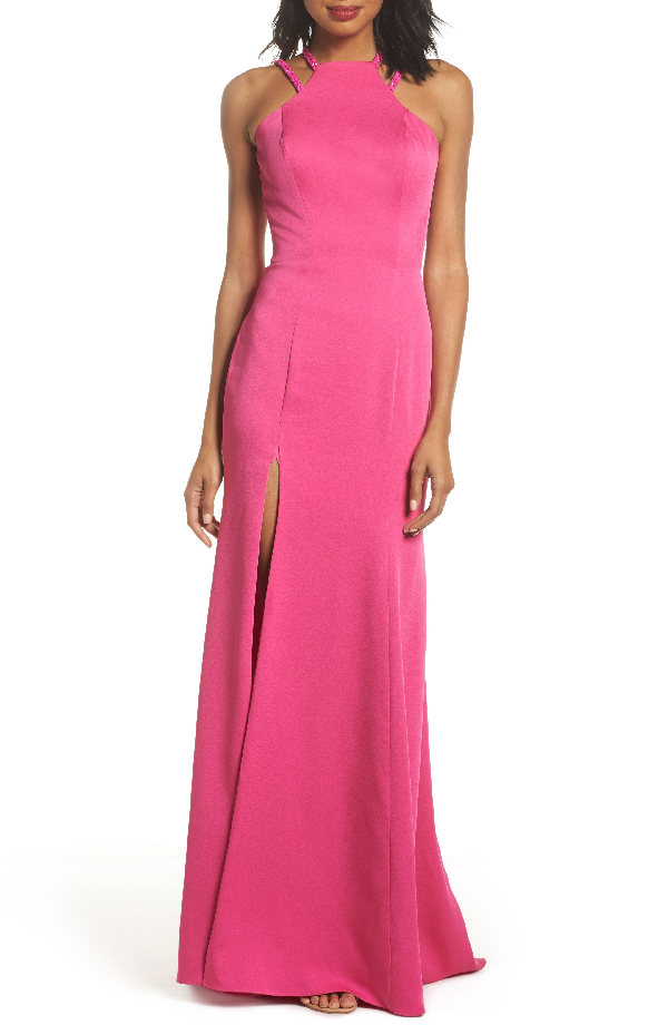 La Femme Beaded Strap Satin Gown In Hot Fuchsia