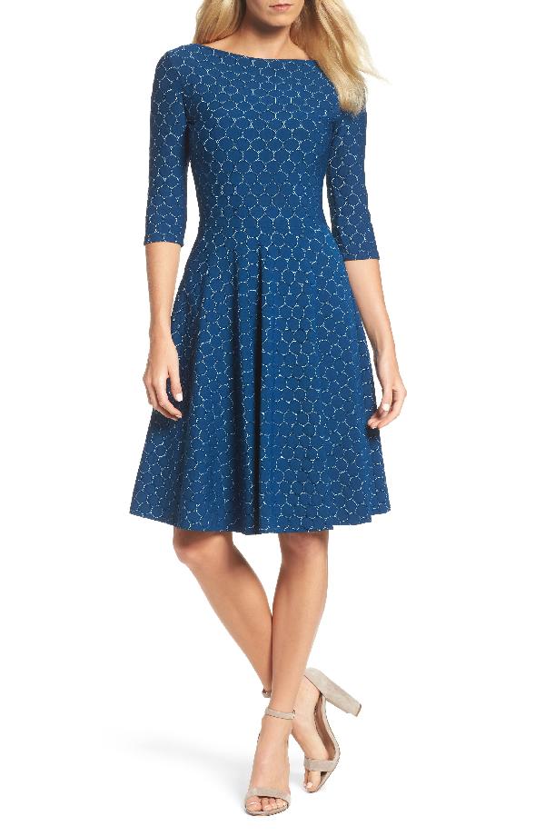 Leota Circle Knit Fit & Flare Dress In Blue