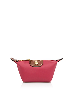 Longchamp Le Pliage Coin Case In Pink/gold