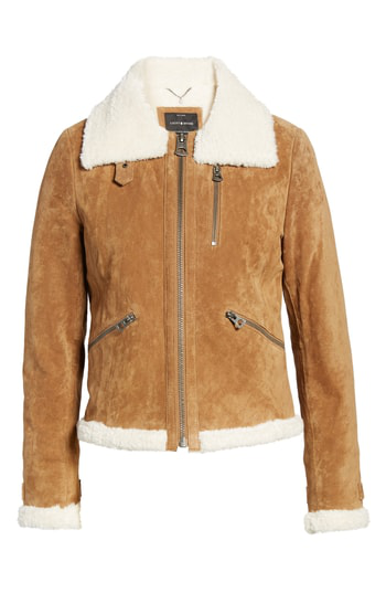 Lucky Brand Leather Jacket With Faux Fur Trim In Chestnut