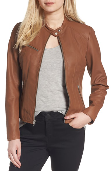 Marc New York Andrew Marc Felicity Leather Moto Jacket In Whiskey