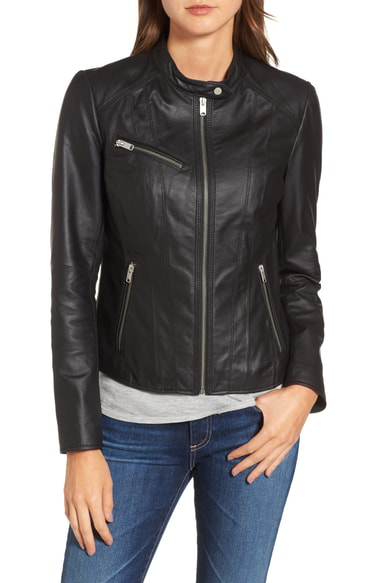 Marc New York Andrew Marc Felicity Leather Moto Jacket In Black
