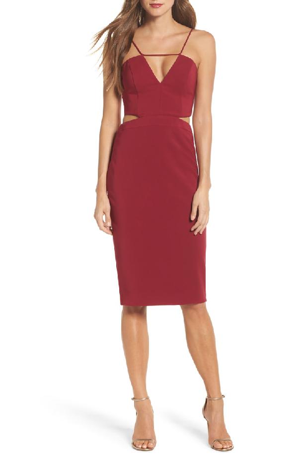 Maria Bianca Nero Melani Strappy Cutout Dress In Wine