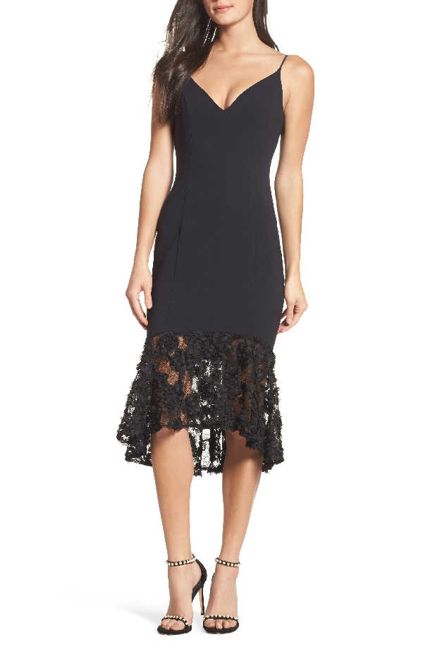 Maria Bianca Nero Milly Lace Flounce Slipdress In Black