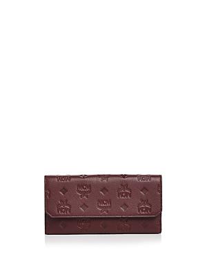 Mcm Klara Monogram Flap Wallet In Rustic Brown