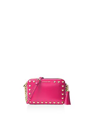 Michael Michael Kors Ginny Studded Medium Leather Camera Bag In Ultra Pink