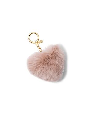 Michael Michael Kors Heart Rabbit Fur Pom-pom Key Fob In Soft Pink/gold