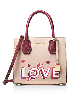 Michael Michael Kors Mercer Medium Leather Messenger In Soft Pink/gold