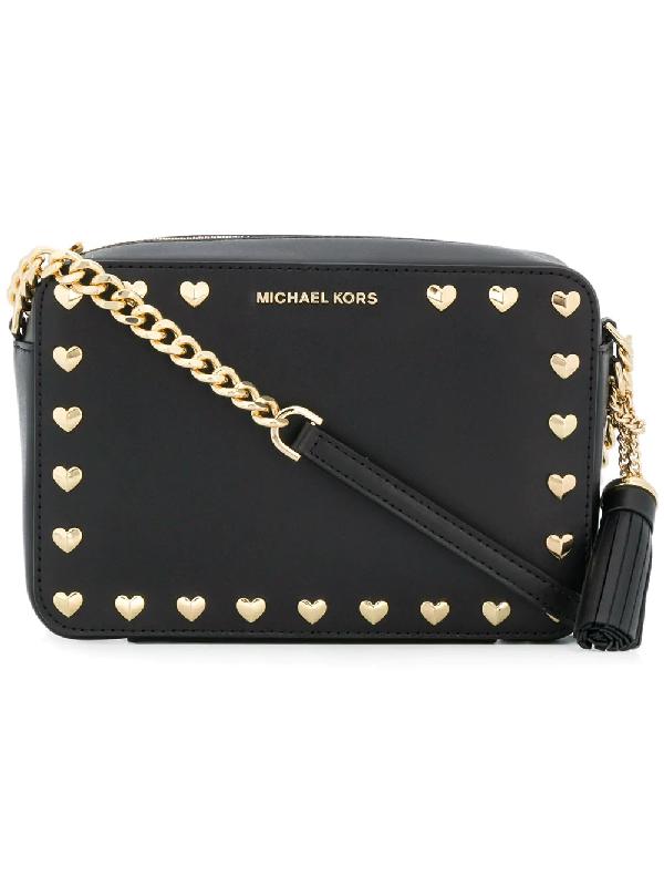 Michael Michael Kors Ginny Studded Medium Leather Camera Bag In Black