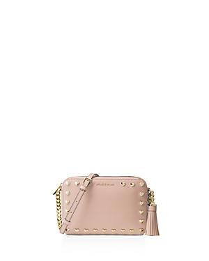 Michael Michael Kors Ginny Studded Medium Leather Camera Bag In Soft Pink
