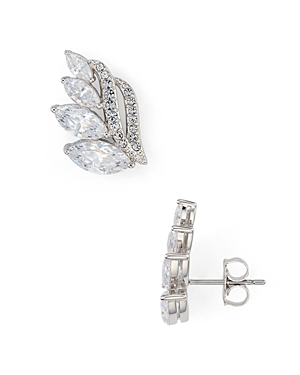Nadri Dolce Cubic Zirconia Crawler Stud Earrings In Silver/clear