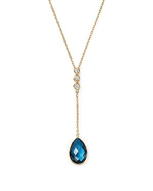 Olivia B 14k Yellow Gold London Blue Topaz Teardrop & Diamond Y-necklace, 17 - 100% Exclusive In Blue/white