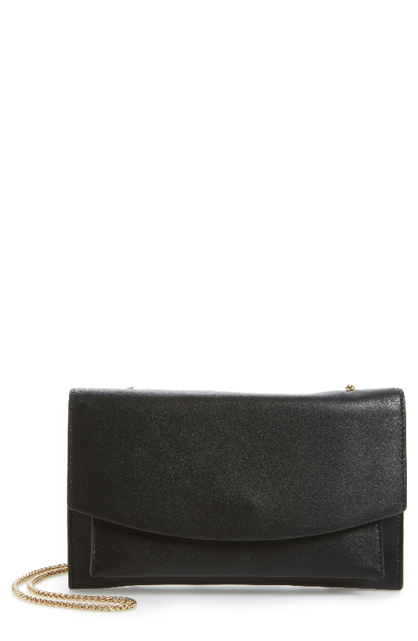 Skagen Eryka Leather Envelope Clutch With Detachable Chain - Black