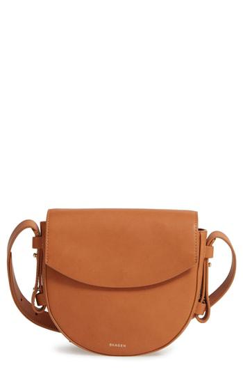 Skagen Lobelle Leather Saddle Bag - Beige In Tan