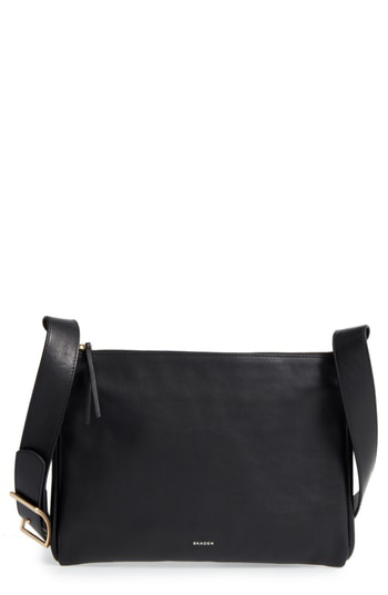 Skagen Slim Anesa Leather Crossbody Bag - Black