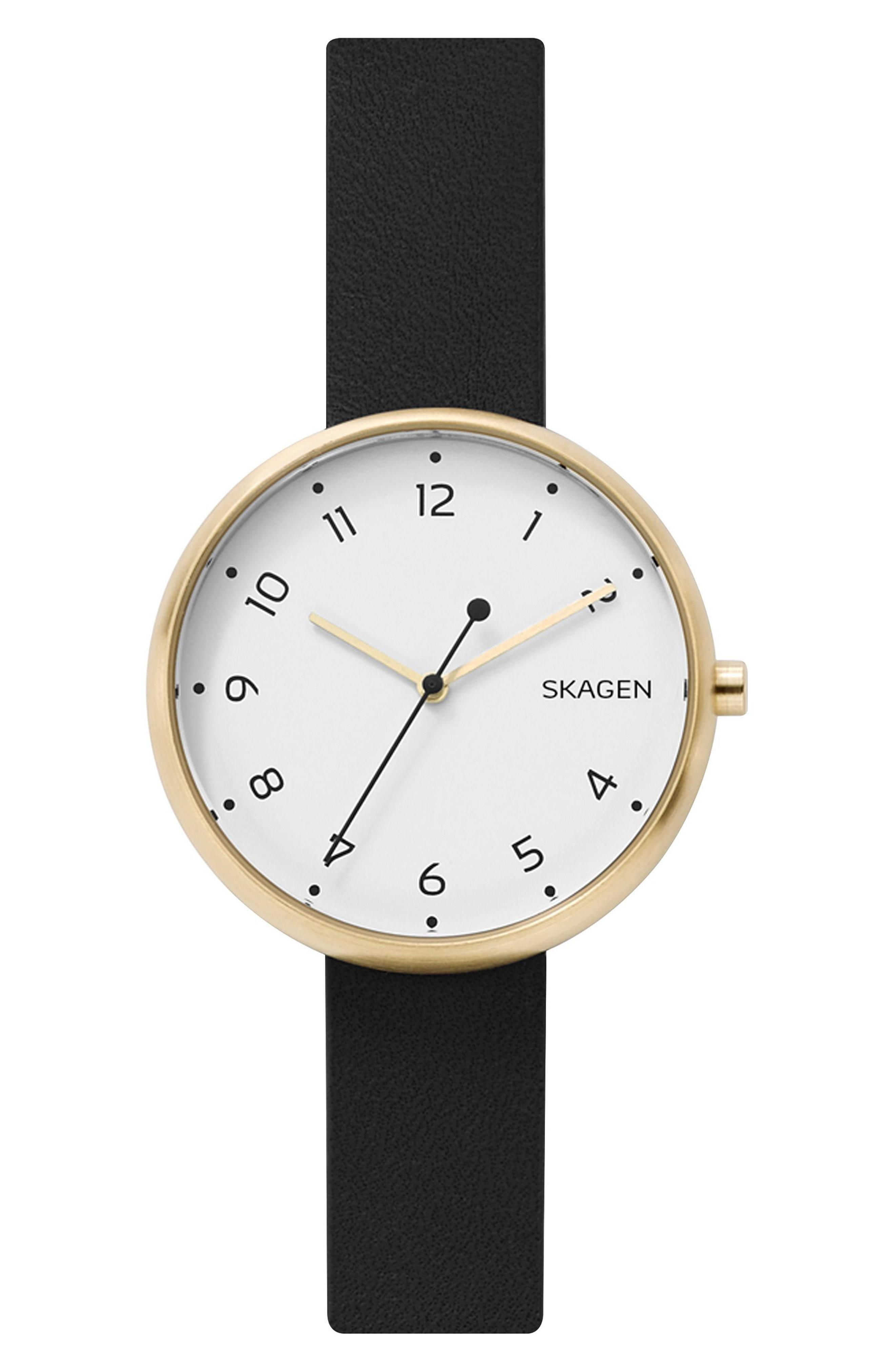 Skagen Signatur Leather Strap Watch, 36mm In Black/ White/ Gold