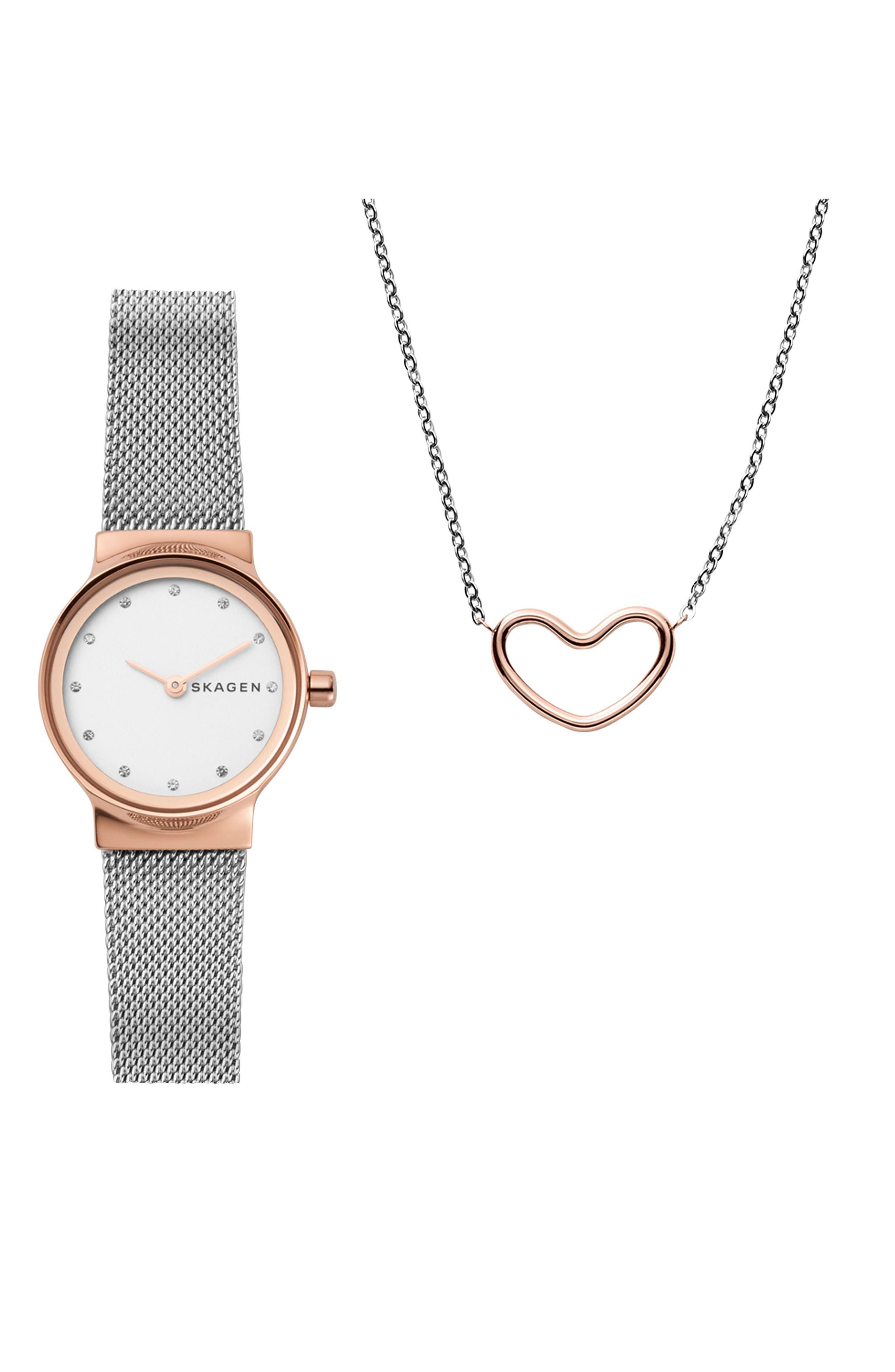 Skagen Freja Crystal Mesh Strap Watch & Necklace Set, 26mm In Silver/ White/ Rose Gold