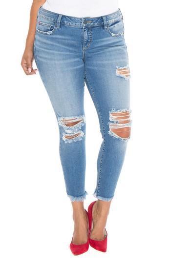 Slink Jeans Destroyed Ankle Jeans In Eden