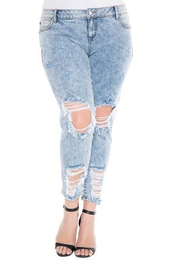 Slink Jeans Destroyed Boyfriend Jeans In Amelia