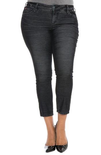 Slink Jeans Stretch Corduroy Cropped Skinny Pants In Black