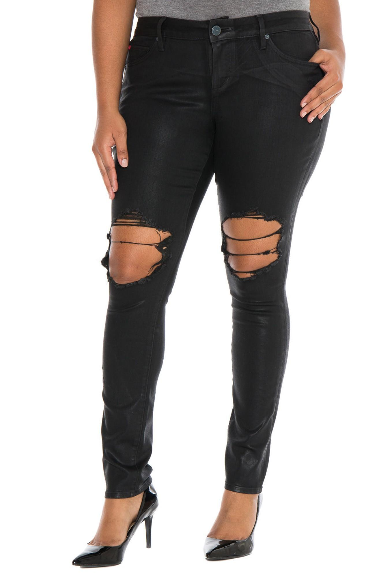 Slink Jeans Destroyed Coated Skinny Jeans In Silvia