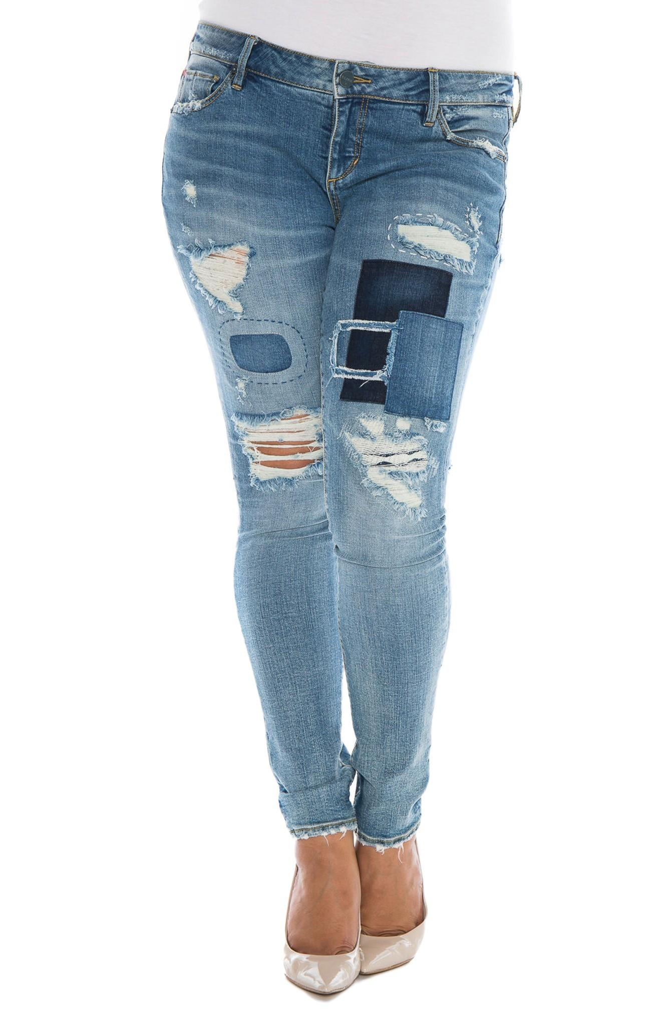 Slink Jeans Destroyed & Patched Skinny Jeans In Hannah