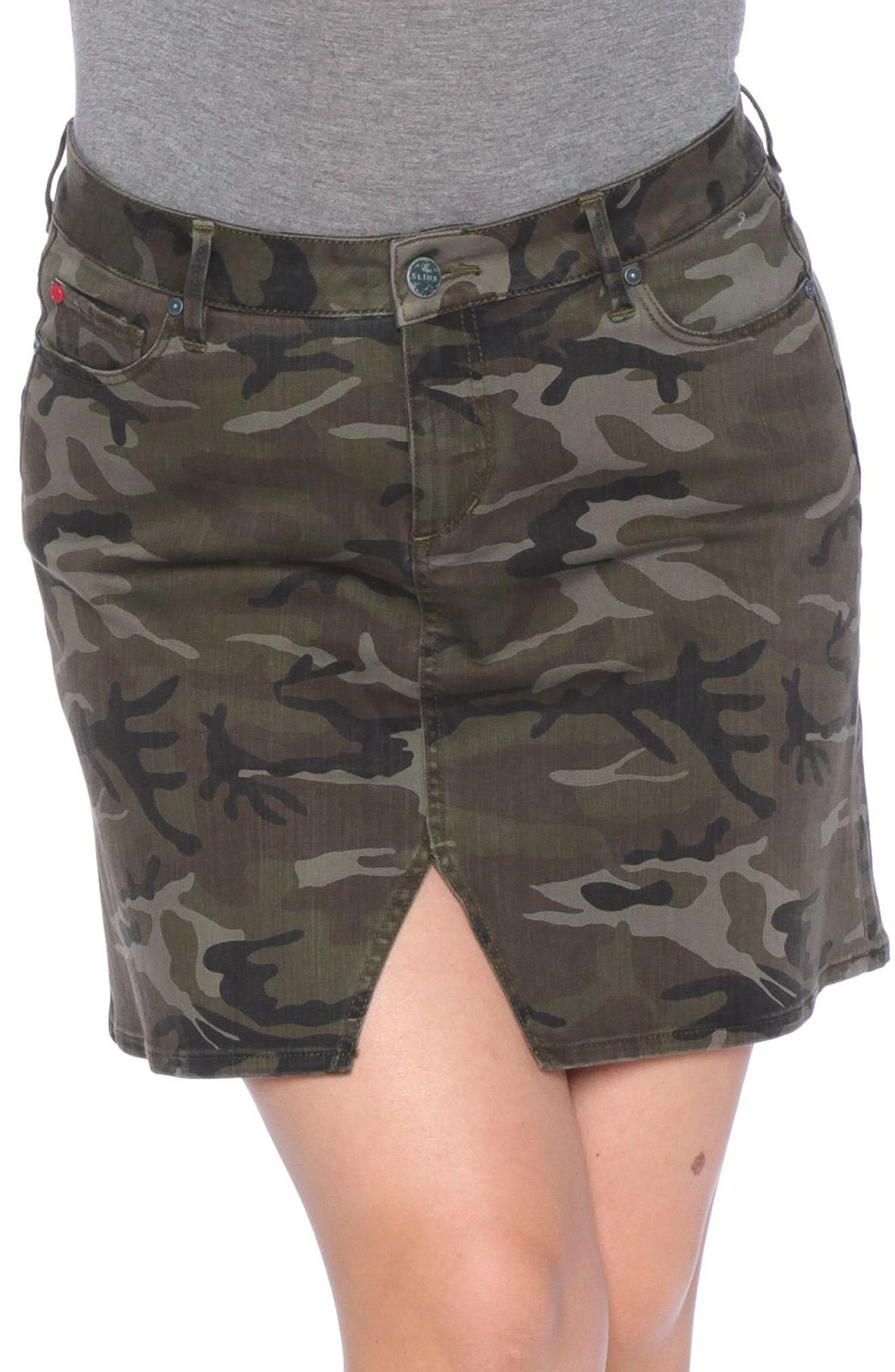 Slink Jeans Camo Print Skirt In Olive Camo