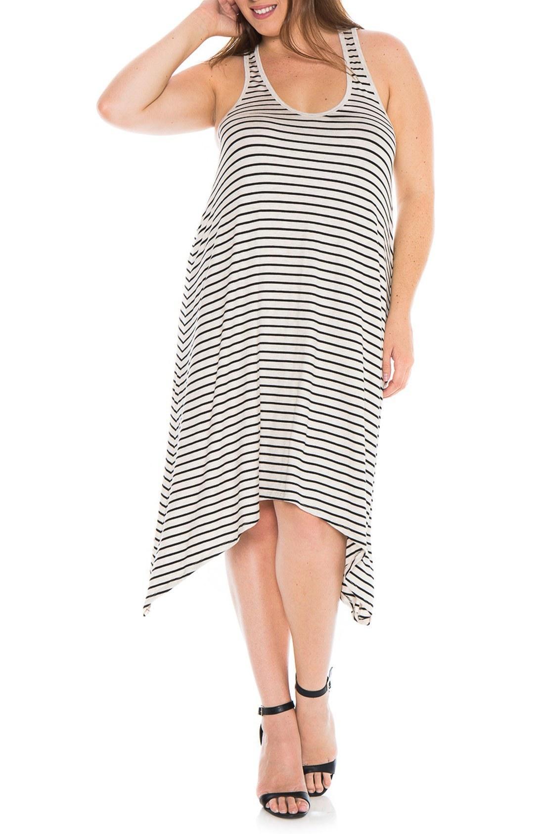 Slink Jeans Stripe Tank Dress In Oat/ Black