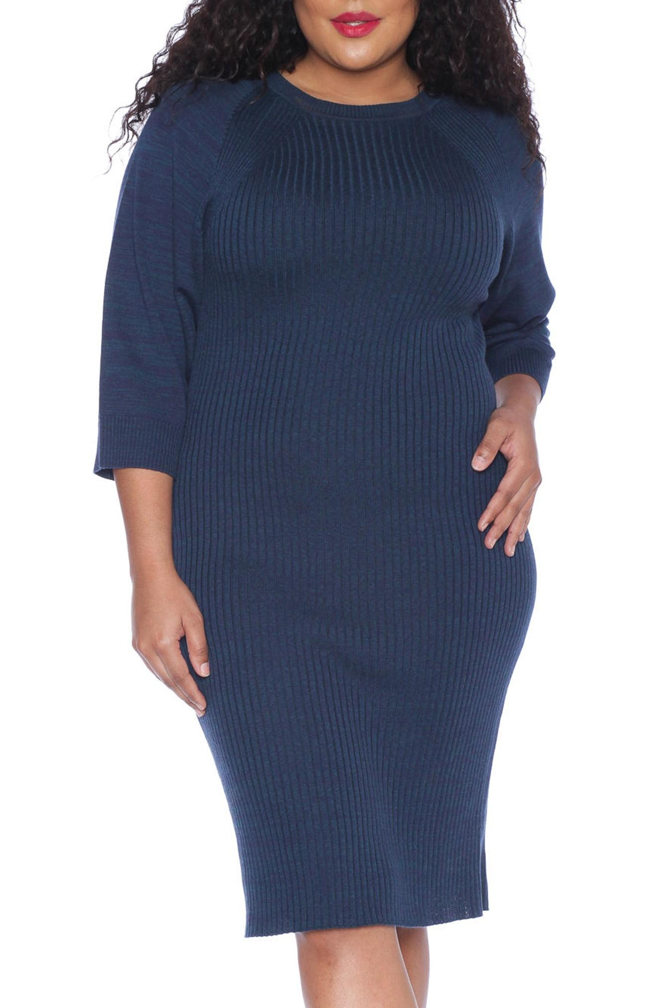Slink Jeans Ribbed Sweater Dress In Deep Blue Navy