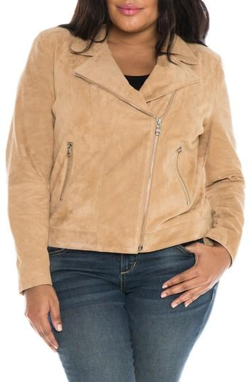 Slink Jeans Canyon Suede Jacket In Sand