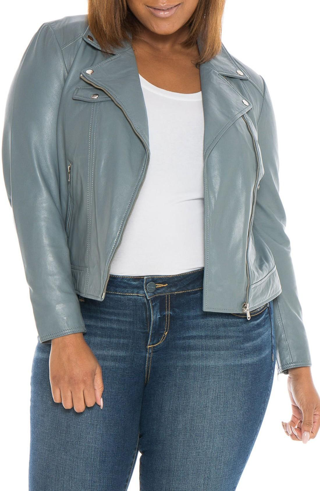 Slink Jeans Crop Leather Moto Jacket In Grey