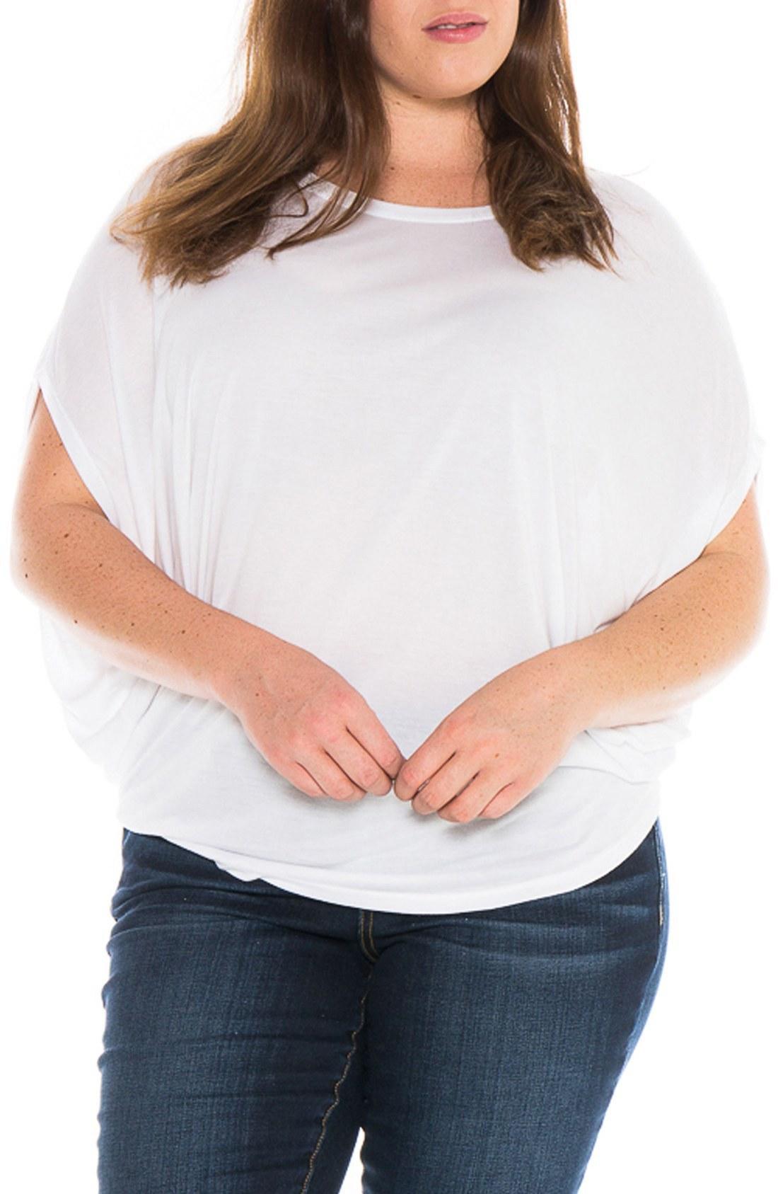 Slink Jeans Drape Side Jersey Tee In White