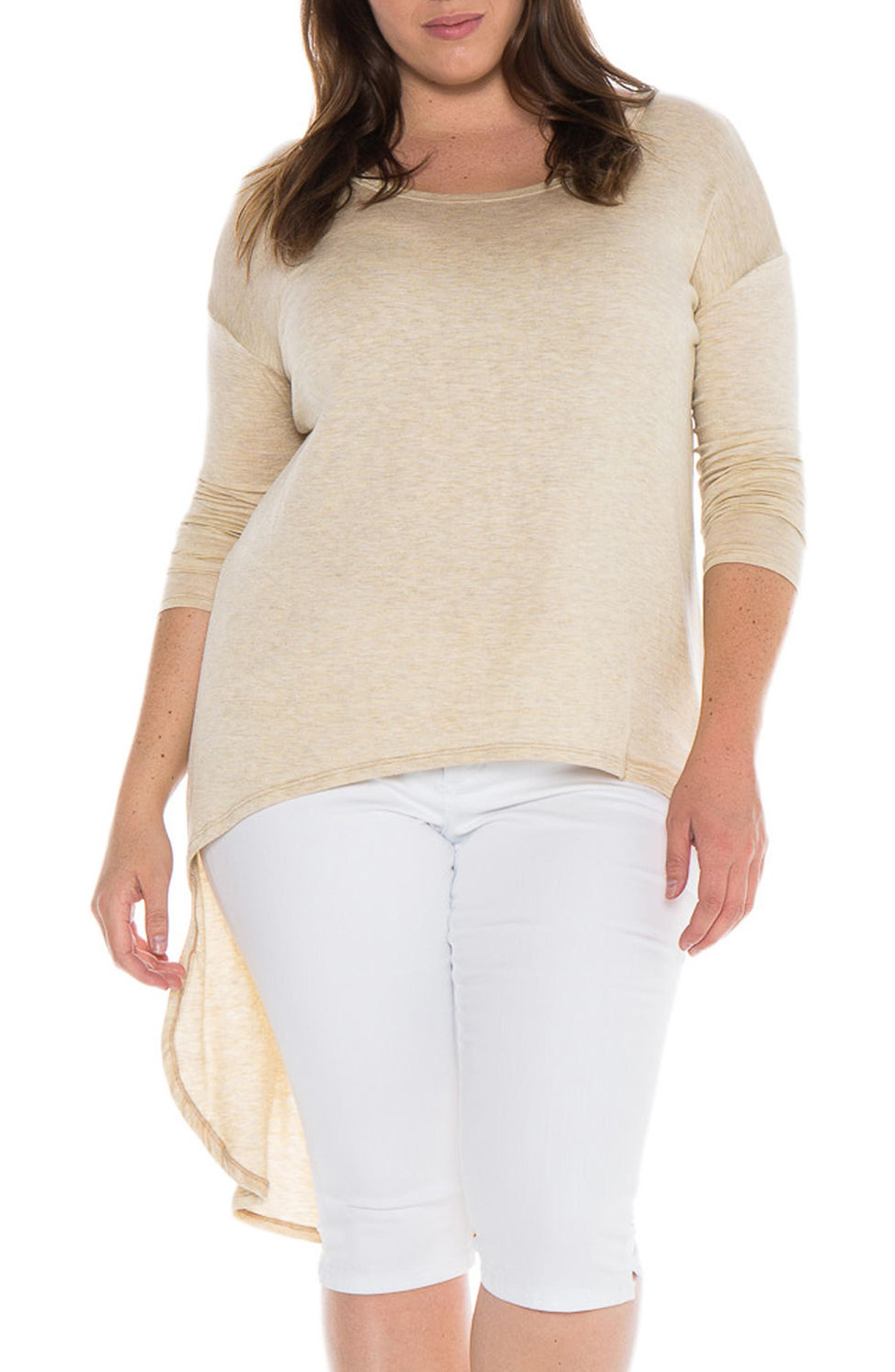 Slink Jeans High/low Top In Oatmeal